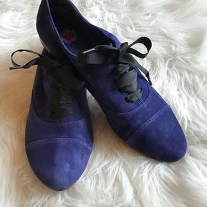 BP Nordstrom Blue Suede Oxford Shoes Size 8 EUC